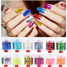 12Pcs/lot 12 colors diamond shape rhombus sequins DIY nail glitter beauty nail ornaments