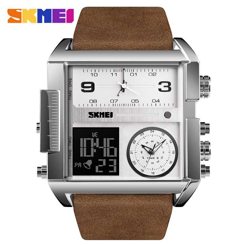 SKMEI Stainless Steel Mens Watches Top Brand Luxury Quartz Military Sports Watches Male Clock Waterproof LED Digital Watch Men