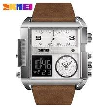 SKMEI acier inoxydable hommes montres Top marque de luxe Quartz militaire sport montres mâle horloge LED étanche montre numérique hommes