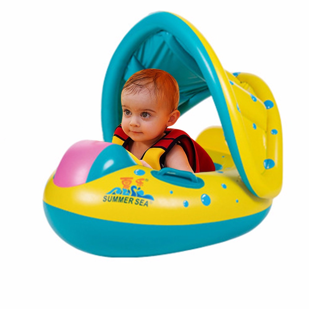 Baby Swimming Ring Bath Toys Portable Safety Inflatable Adjustable Sunshade Float kids Water Sport Seat Boat Toy Ring Swim Pool