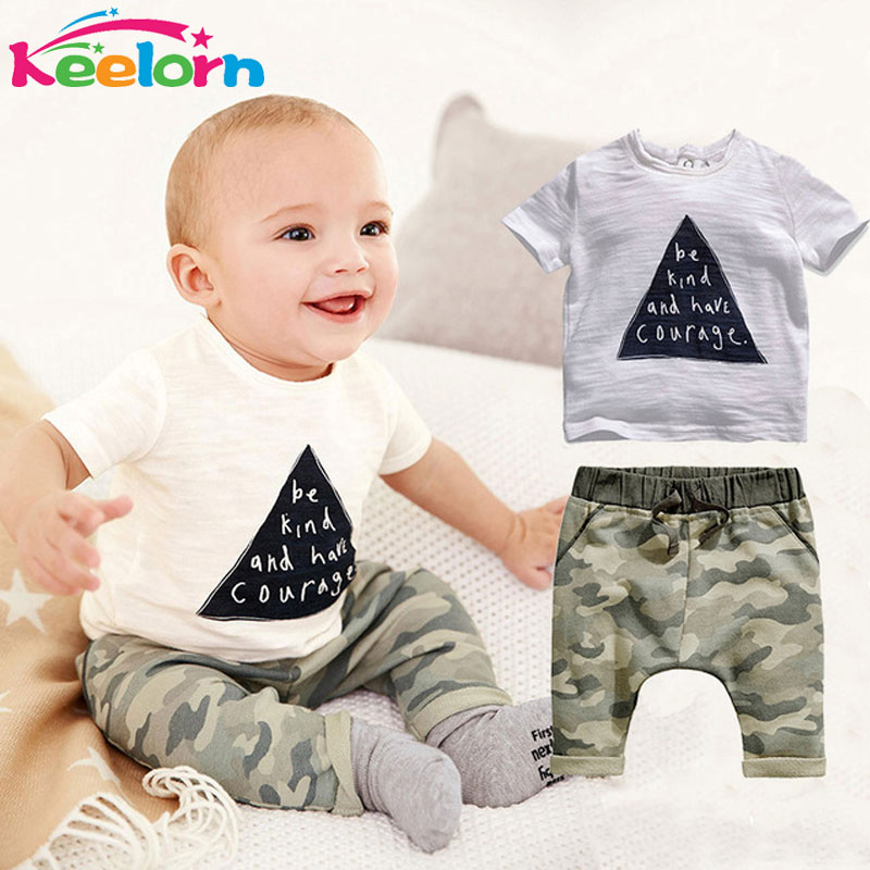Keelorn Baby clothing Rompers kids boys summer style infant clothes Cotton Little Monsters Short Sleeve 2pcs Suits baby rompers