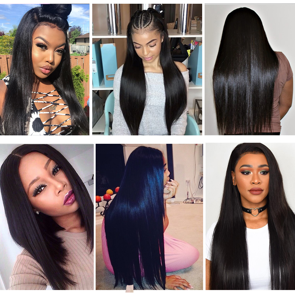 Alibele Brazilian Straight Bundles With 360 Lace Frontal Closure Remy Human Hair Bundles With Frontal Straight Hair 3 4 Bundle Hair Extensions & Wigs 3/4 Bundles With Closure