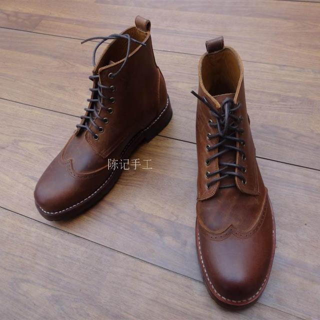Sipriks mens genuine leather maritn boots classic vintage wingtip dress  boots round toe ankle boot goodyear welted shoes 46 47 8d3956ff0660
