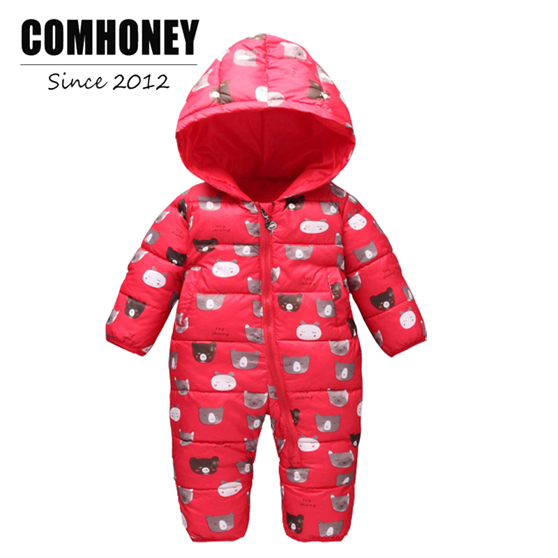 Infant Winter Romper For Newborn Baby Jumpsuit 3M-4T Boy Girl Cotton Bear Thick Hooded Warm Toddle Overalls Kid Clothes New year 2017 new baby winter romper cotton padded thick newborn baby girl warm jumpsuit autumn fashion baby s wear kid climb clothes