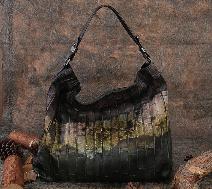 Lady Retro Shoulder Bag First Layer of Leather Large Capacity Tote Handmade Women Leisure Bags Cow Skin Leather Hobo Handbag 2018 genuine leather women handbag new handmade retro shoulder bag large capacity first layer cowhide female crossbody bags