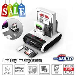 Wavlink SATA HDD 2.53.5 внешний жесткий диск USB 3,0 док-станция 5 Гбит/с офлайн клон кардридер для жесткого диска до 10 ТБ