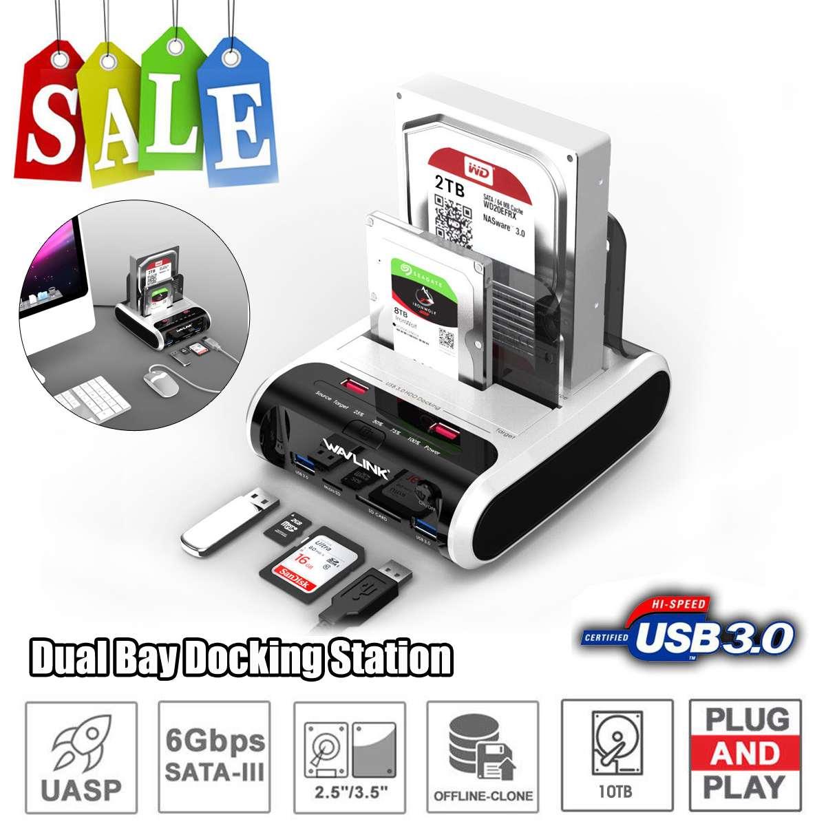 Wavlink SATA HDD 2.53.5 disque dur externe USB 3.0 Station d'accueil 5Gbps hors ligne Clone lecteur de carte pour disque dur jusqu'à 10 to