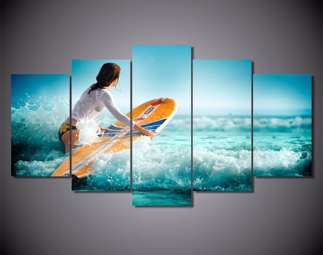 5Piece Wall Paintings Canvas Prints Surf Girl Adventure