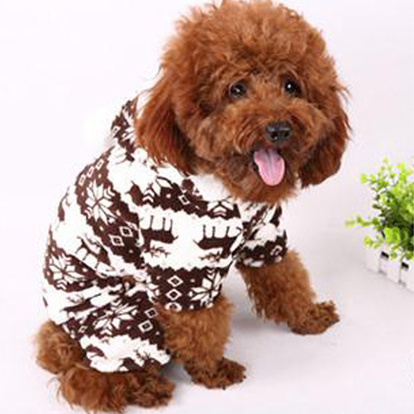 Hot Sales Factory Price! Soft Warm Pet Dog Puppy Winter Clothes Snowflake Deer Printed Hoody Jumpsuit