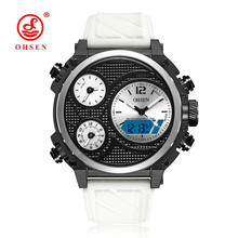 NEW OHSEN Fashion Quartz Digital Watch Mens LED 50m Swim Sport Watch Men Rubber Band White Dial Military Wristwatch Montre Homme white ceramics band design mens leisure watch