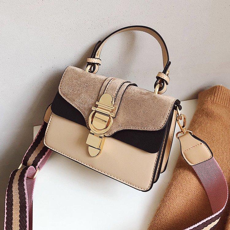 BEIGE New Women Leather Handbags Luxury Contrast Color Shoulder Bag