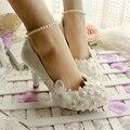 La versión europea del 2014 con Zapatos de Boda de Las Mujeres Zapatos de Dama de honor Nupcial Zapatos de tacón alto Blancos Zapatos de gran tamaño 41-42