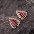 Vintage Ethnic Triangle Earrings Bronze Multicolor Antique Metal Stud Earrings Fine Jewelry XL0385 A2