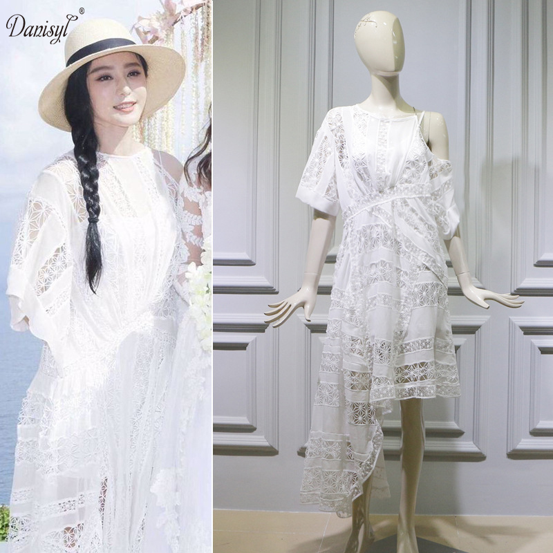 Spring Summer Women White Lace Hollow Irregular Dress Wedding Anniversary Bridesmaide Mermaid Beach Dresses High Quality In From S Clothing