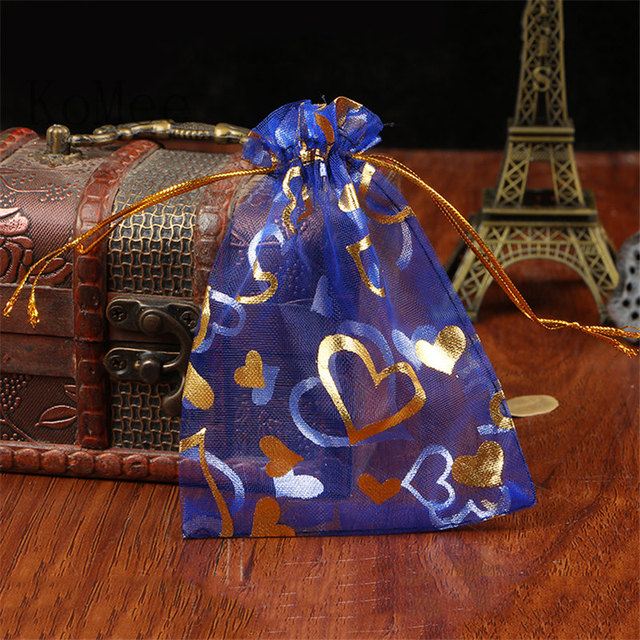 Whole 100pcs Royal Blue Organza Bags 17x23cm Hearts Design Wedding Favor Cosmetics Packaging Bag Draswstring Gift