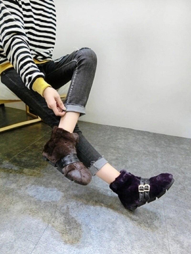 Femmes ardoisé Velours deep Plus Noir Chaussures Pois Fourrure Et D'hiver Chaud Des Automne Plat Cheveux Pointues Purple Avec Lapin Nouvelle chocolat Coton 2018 Sc kaki F7vOwWqR