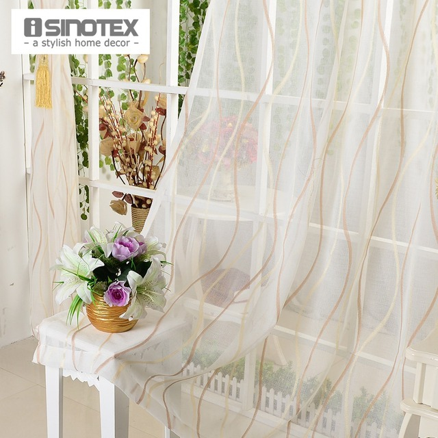 Tulle Window Curtain Fabric Jacquard Yellow&Brown Striped Living ...