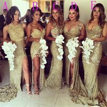 2016 Gold Long Bridesmaid Dresses Backless Sequined Appliques Mermaid Floor-Length Robe Demoiselle D'honneur Bridesmaid Dress