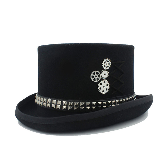 100% Wool Steampunk Fedora Top Hat Top Hat for men Crafting The punk style  hat 6306928aa18