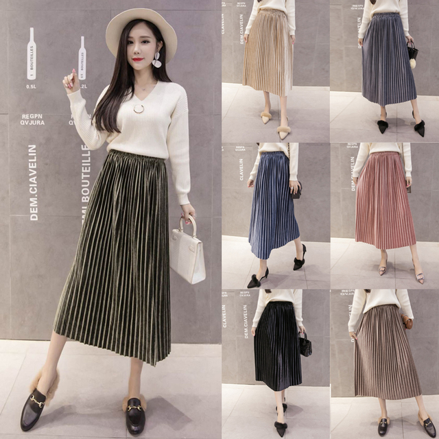 f7db51ac50 Korean Vintage New Tulle Pink Skirts Japanese Women Summer Velvet Pleated  High Waist Ladies Boho Midi Skirt Black A Line Saias