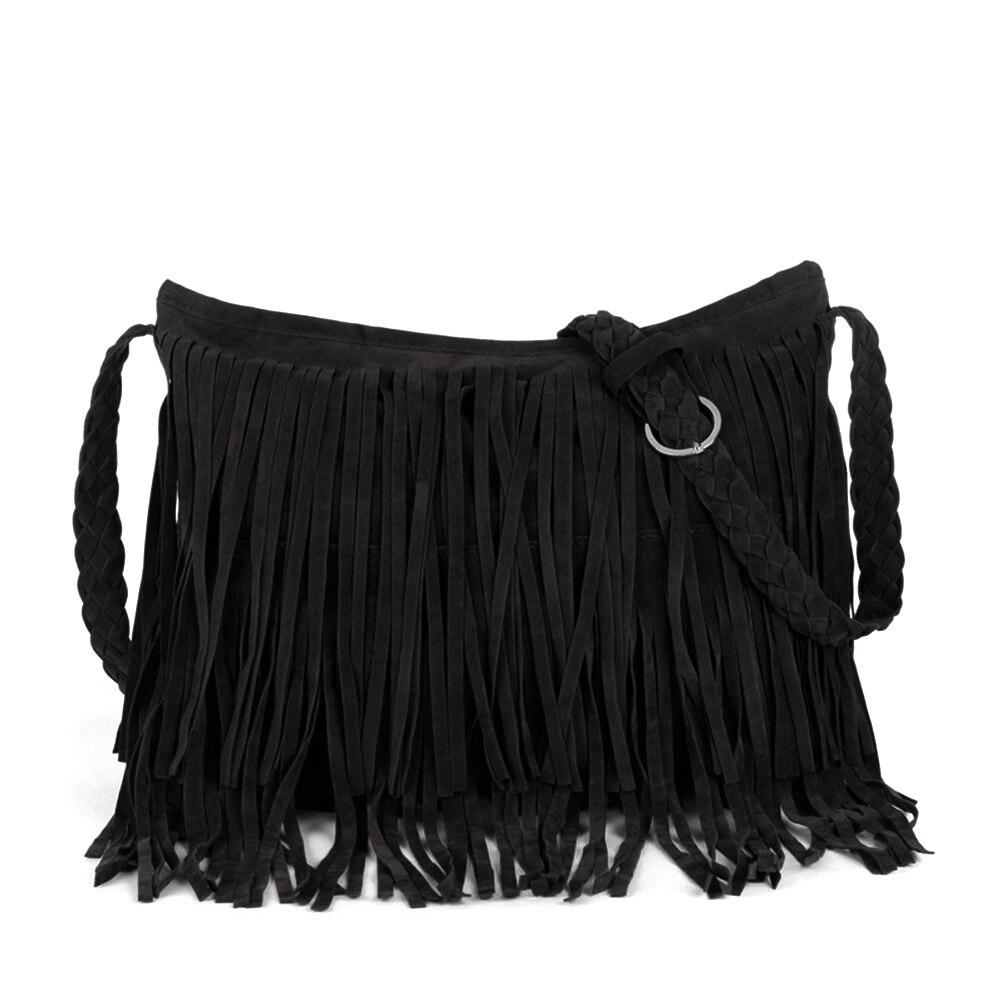 Vbiger Girls Tassels Shoulder Bag Fringed PU Leather Handbag Simple Cross Body Bag for Women Braided Shoulder Strap High Quality