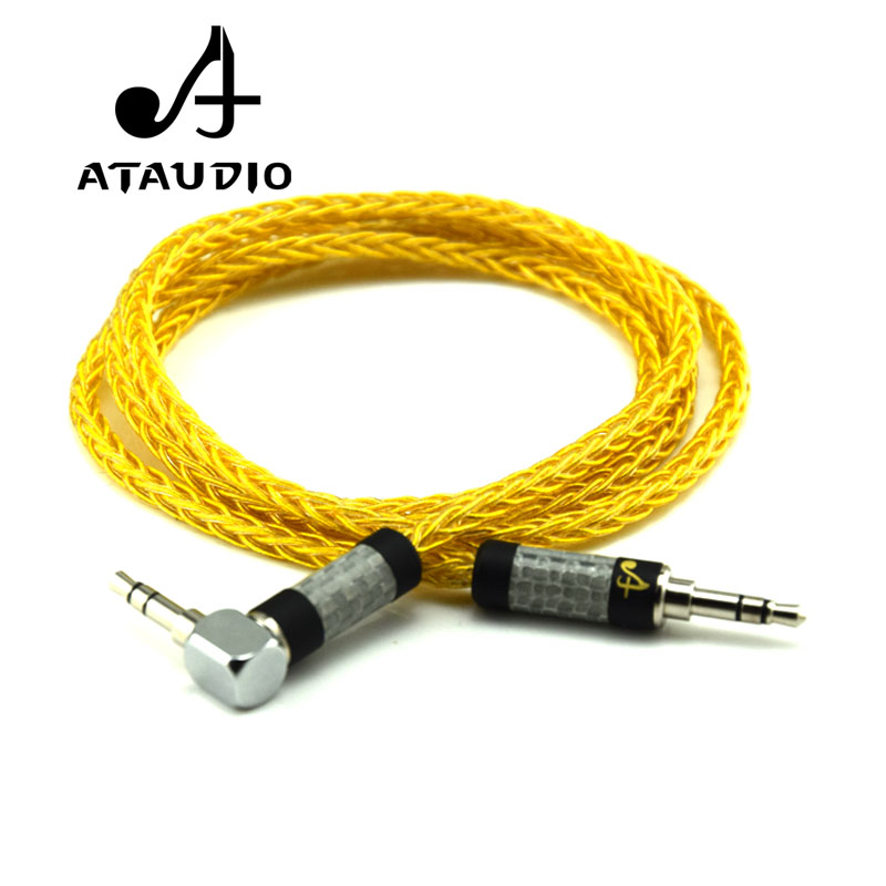 ATAUDIO Hifi 3 5mm Gold Cable High Quality 3 5mm Jack Male to Male Aux Cable