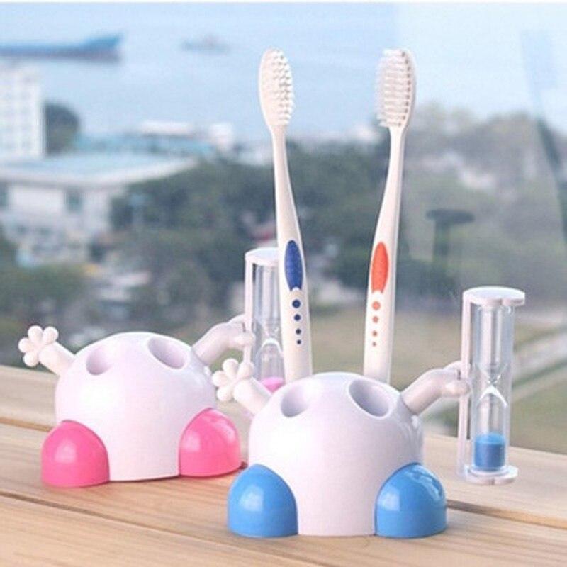 1Pc Cute Cartoon Children 3 Minutes Timing Toothbrush Holder 4 Hole Stand Tooth Brush Shelf Bat Bathroom Toothbrush Storage Rack