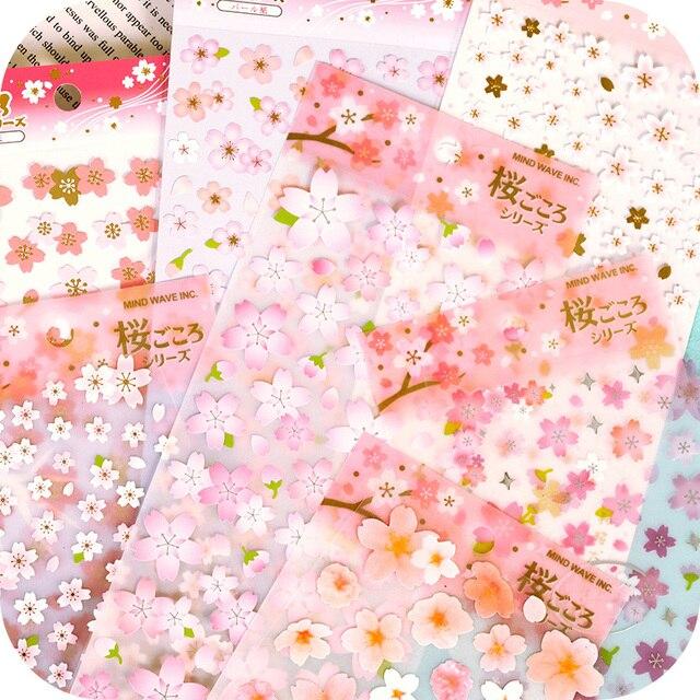 Romantic Pink Sakura PVC Stickers Diary Stationery Sticker Wall DIY Album  Decoration Scrapbooking Stickers Mobile Phone
