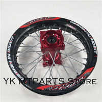 Red and black1.85 x 12inch Rear Rims Aluminum Alloy Disc Plate Wheel Rims CNC Hub 12 32 spoke for dirt bike pit bike