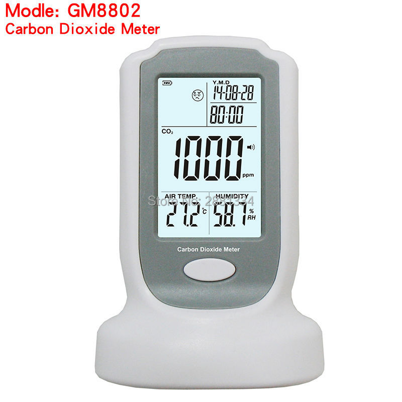 2017 hot sale GM8802 Handheld Carbon Dioxide Detector CO2 Monitor Temperature Humidity Tool digital indoor air quality carbon dioxide meter temperature rh humidity twa stel display 99 points made in taiwan co2 monitor
