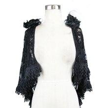 Devil Мода готический стиль женские черные сексуальные кружево с цветочным узором кисточкой Cappa зимние модные открытые Выпускные вечерние женские Cappa