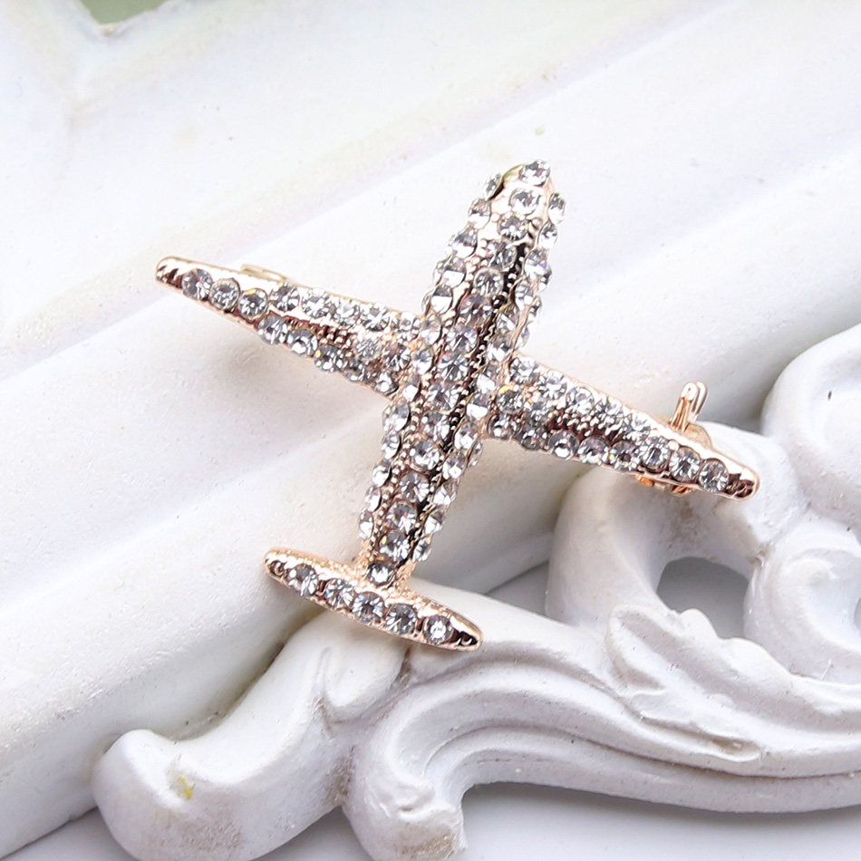 New Fashion Women Plane Brooch Pin Stewardess Logo Pilot Badge Austria Rhinestone Brooches Broches Sign Jewelry Of Flying Sky