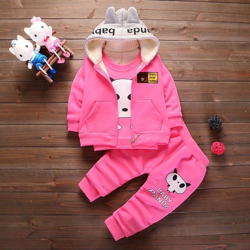 Winter Baby Girls Clothing Sets Children Velvet Warm Clothes Set Kids Boys Panda Sweater+ coats+ pants Toddler Christmas suits