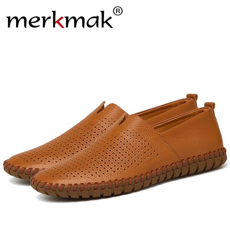 Merkmak Genuine leather Summer Men Hole Shoes Fashion Handmade Slip On Loafer Business Driving Man Flats Footwear Shoes Dropship branded men s penny loafes casual men s full grain leather emboss crocodile boat shoes slip on breathable moccasin driving shoes