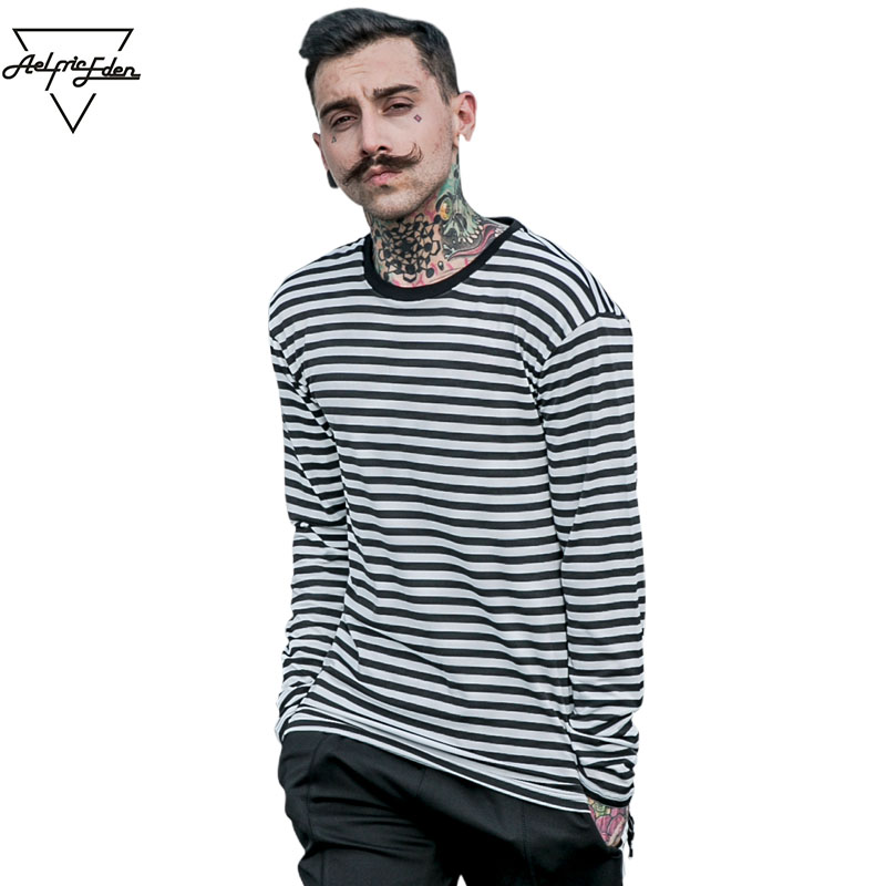 Aelfric Eden Korea Spring New striped T-shirt Casual Mens Cotton Striped Long Sleeve T Shirt Men's Fashion Black White T-shirt