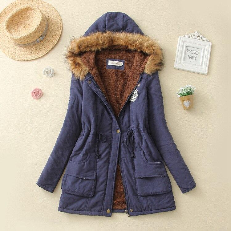 19 Winter New Women's Hooded Fur Collar Waist And Velvet Thick Warm Long Cotton Coat Jacket Coat 15
