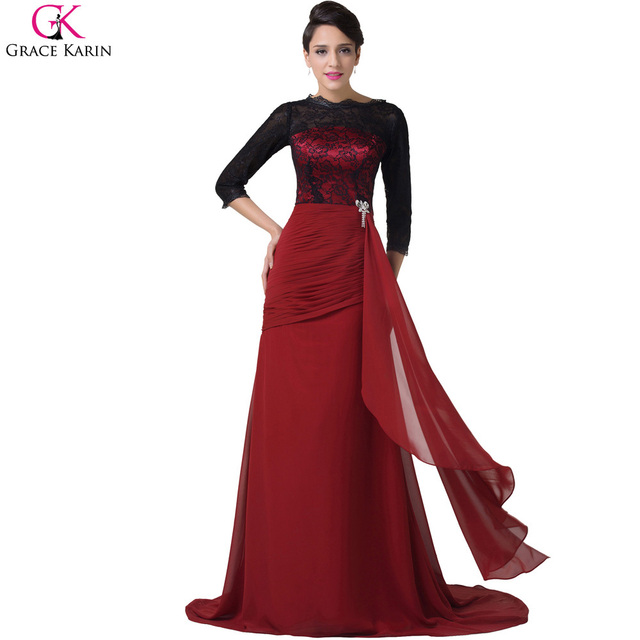 Elegant Robe Grace Karin Chiffon Long Sleeve Red And Black Lace Mermaid  Crystal Formal Evening Gowns ba3cd824b