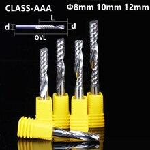 8/10/12mm shaft 1PCS, Class 3A 1 Flöte Ende Mühle, CNC fräser, wolfram hartmetall holzbearbeitung router bit tool, PVC, MDF, Acryl