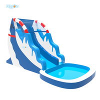 Large Dolphin Inflatable Pool With Big Slide Giant Inflatable Water Park For Kids Inflatable Water Slide