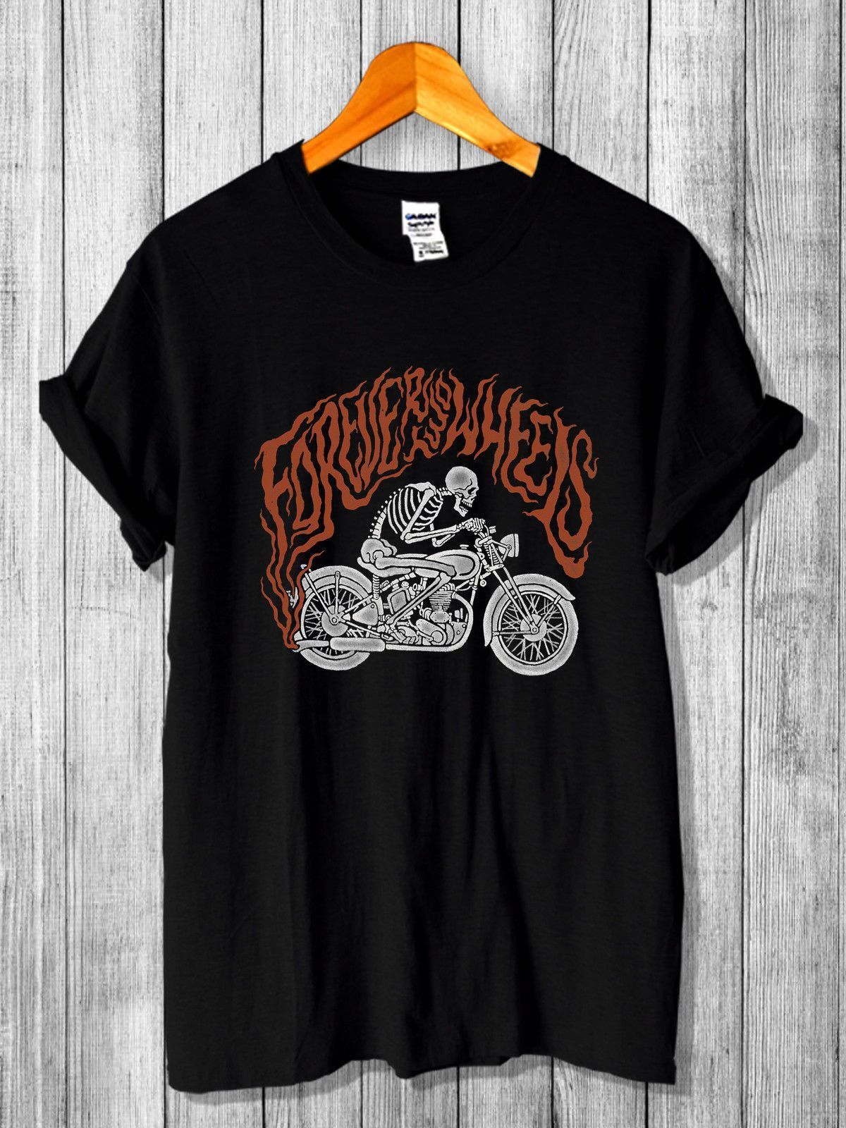Forever Two Wheels Skeleton Rider Logo T-shirt Printed Mens Men T Shirt Different Colours High Quality 100%