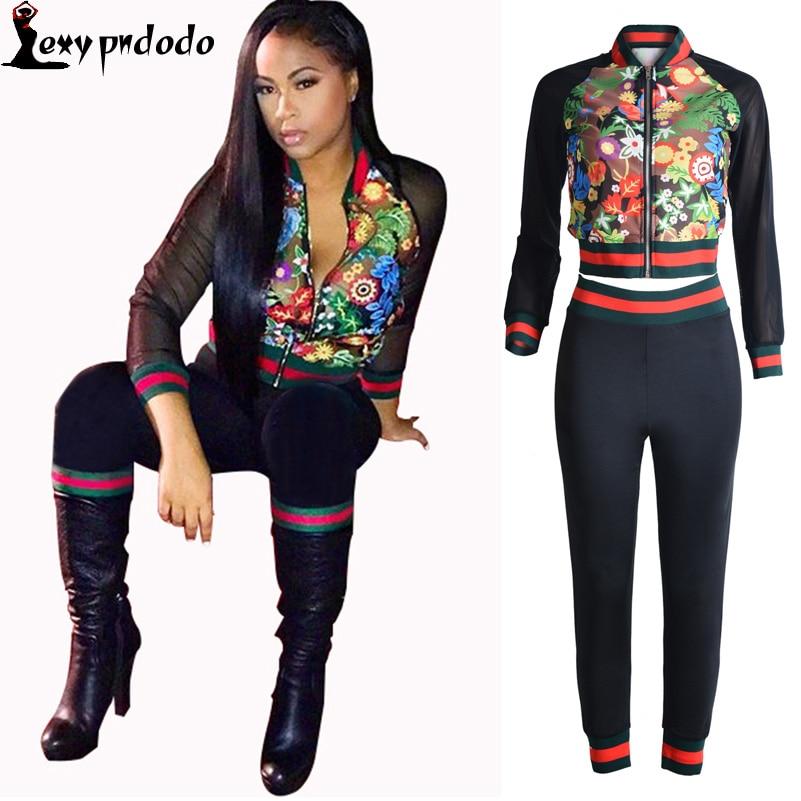 survetement femme marque 2016 2 PC Set Women Long Sleeve Autumn Black Bodysuit Woman Sets Flores Crop Top+Pants Two Piece Set VS ...