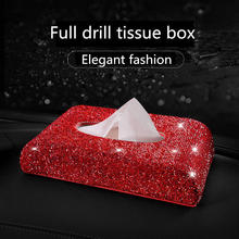 Роскошный Кристалл инкрустация с полными бриллиантами тканевая коробка мерцающее сиденье tissuel коробка со стразами домашний Автомобиль декоративное украшение