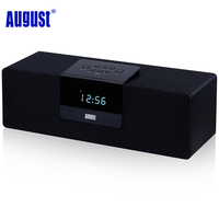 August SE50 Wood Bluetooth 4 1 Stereo Speaker With FM Radio 30W Wireless Laptop BoomBox For