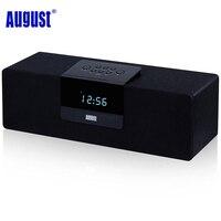 Sierpień SE50 Drewna Bluetooth 4.1 Stereo Głośnik z RADIEM FM 30 W Laptop Wireless BoomBox dla Smartfonów, iphone' ów, ipadów-Czarny