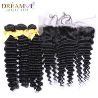 3 Bundles Brazilian Deep Wave With Lace Frontal 100% Human Hair Pre Plucked 13X 4 Lace Closure Dreaming Queen Remy Hair