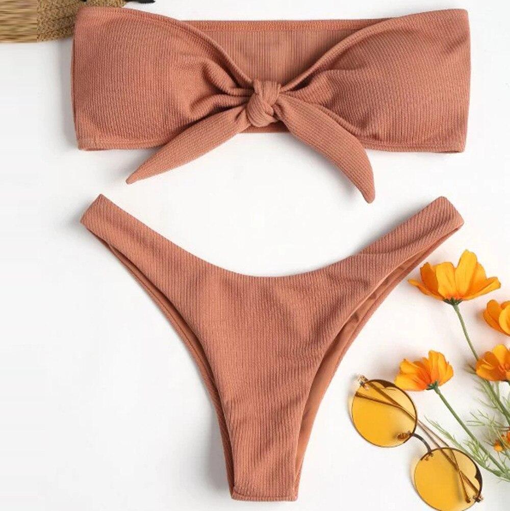 #Z45 Bandeau Sexy bikinis Two Piece Swimsuit Women Swimwear Push Up Monokini Cut Out Bathing Suits Print Beach Swimming Suit|Bikini Set|   - AliExpress