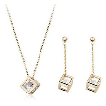 Cube inside CZ Diamond font b Crystals b font 18K Gold Plated Drop Earrings and Pendant