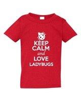 Camiseta Camisas al por mayor manga corta mantener la calma y amor ladybugs hombres o-cuello manga corta Camisas