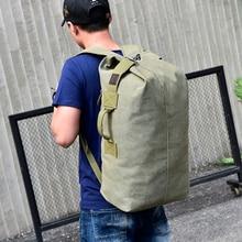 купить Stylish Travel Large Capacity Backpack Canvas bucket Male Luggage Shoulder Bag Computer Backpacking Men Functional Versatile Bag дешево