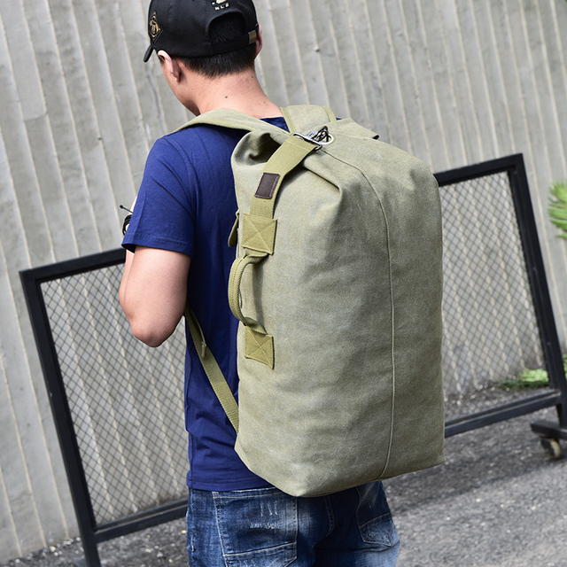 Stylish Travel Large Capacity Backpack Canvas bucket Male Luggage Shoulder  Bag Computer Backpacking Men Functional Versatile e498109e144c5